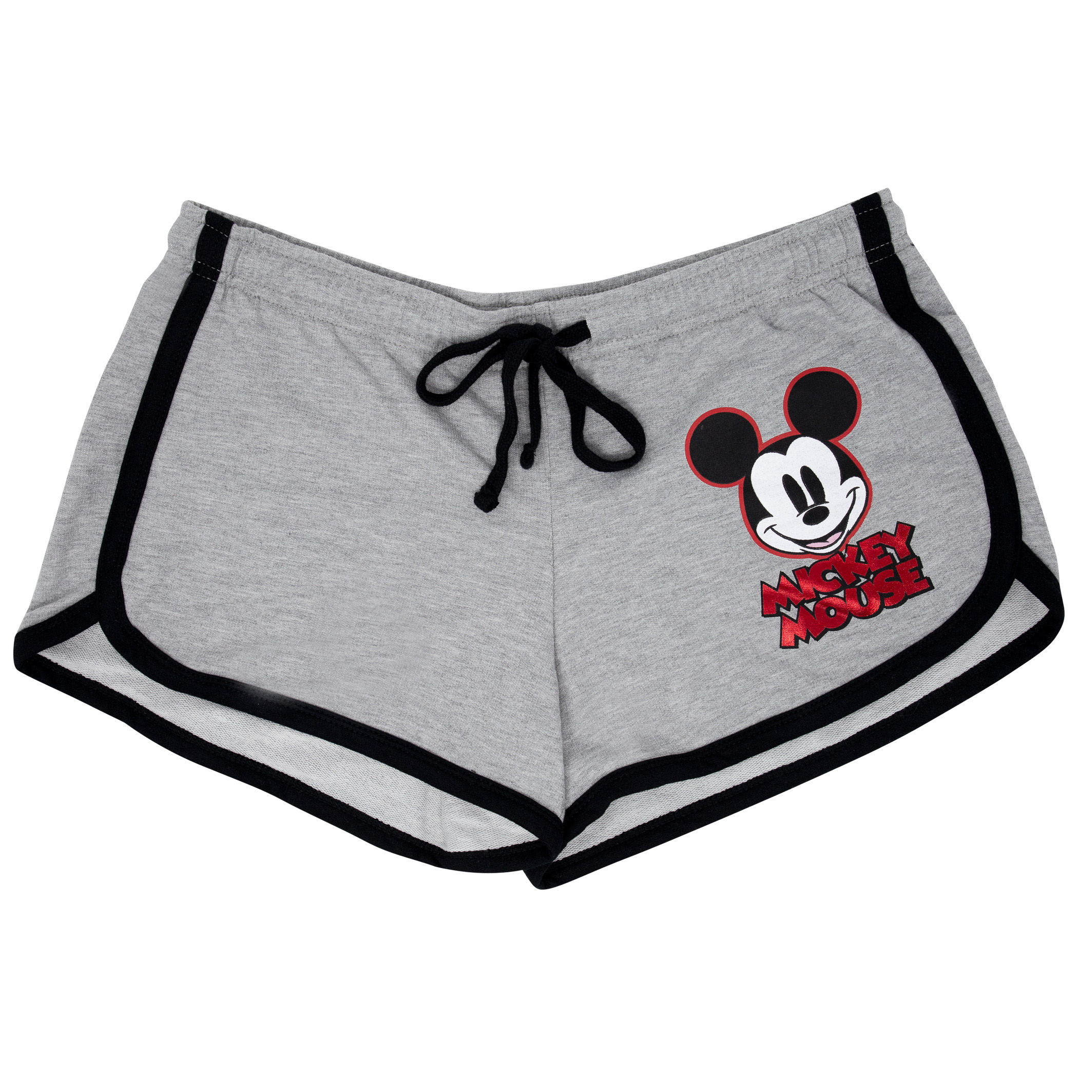 Mickey Mouse Ladies Red Foil Logo Grey Shorts