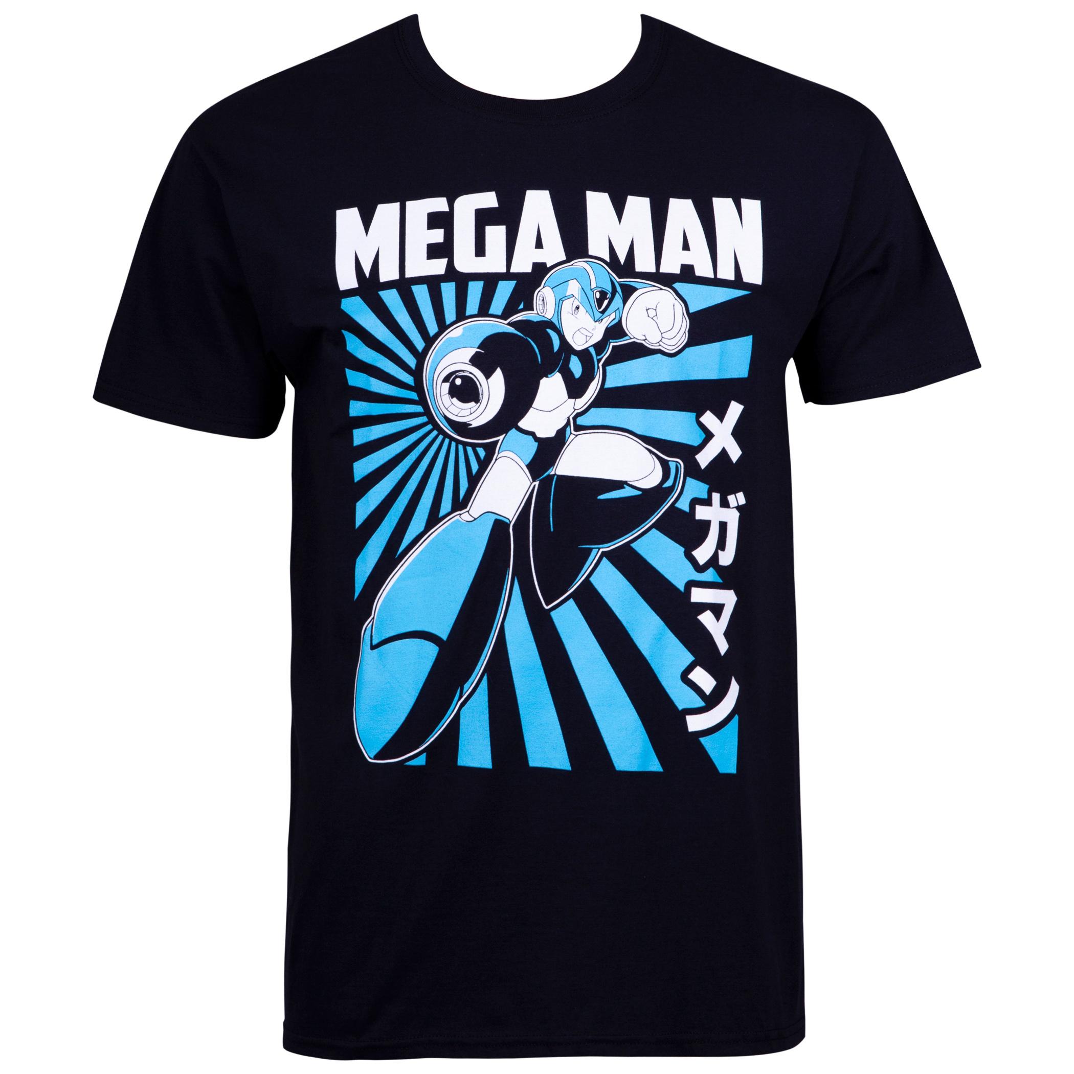 Mega Man Kanji Portrait Black Tee Shirt