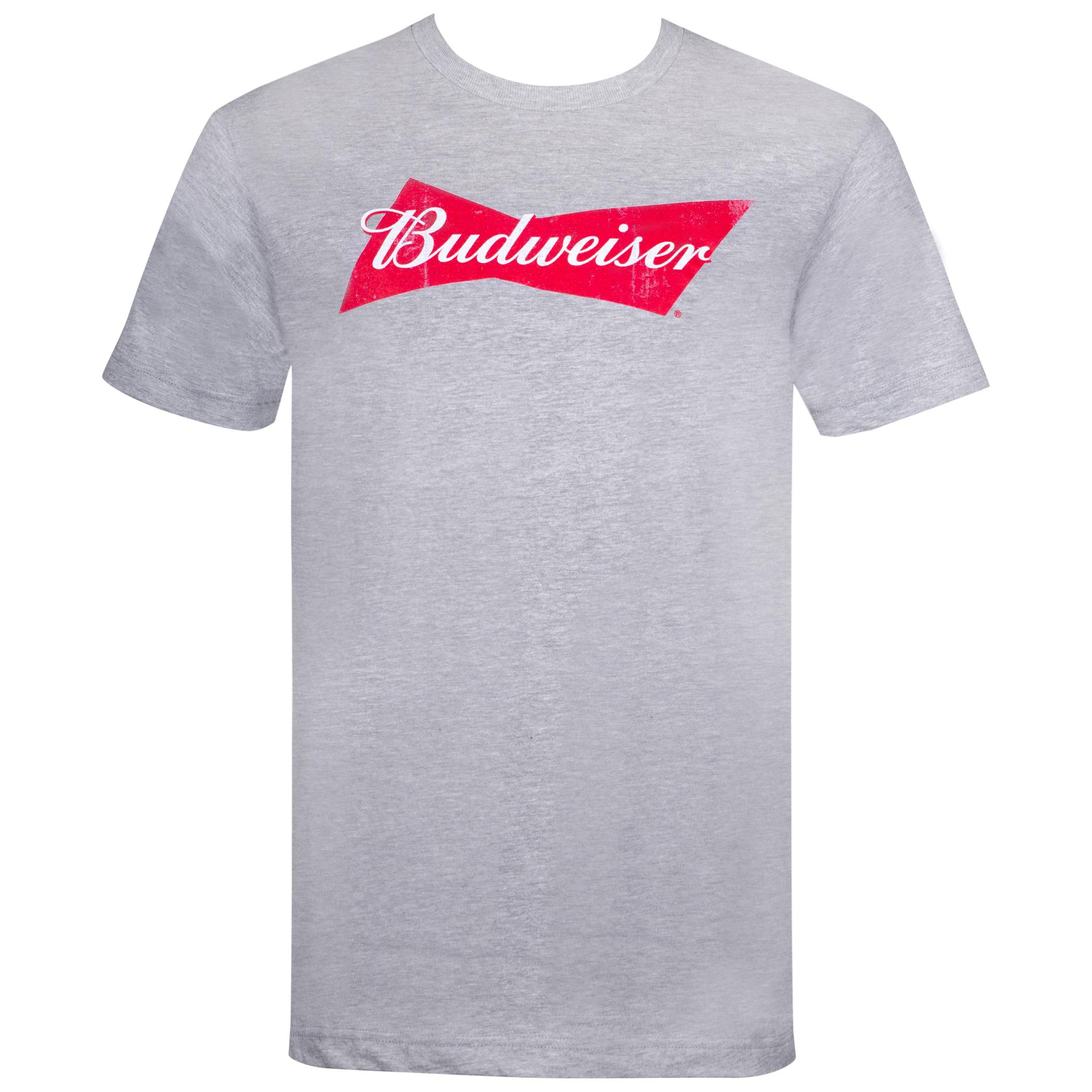 Budweiser Classic Bow Tie Logo Grey Tshirt