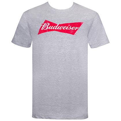 Budweiser Bow Tie Logo Grey Tshirt