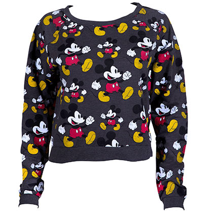 Mickey Mouse All Over Print Cropped Women's Sweatshirt