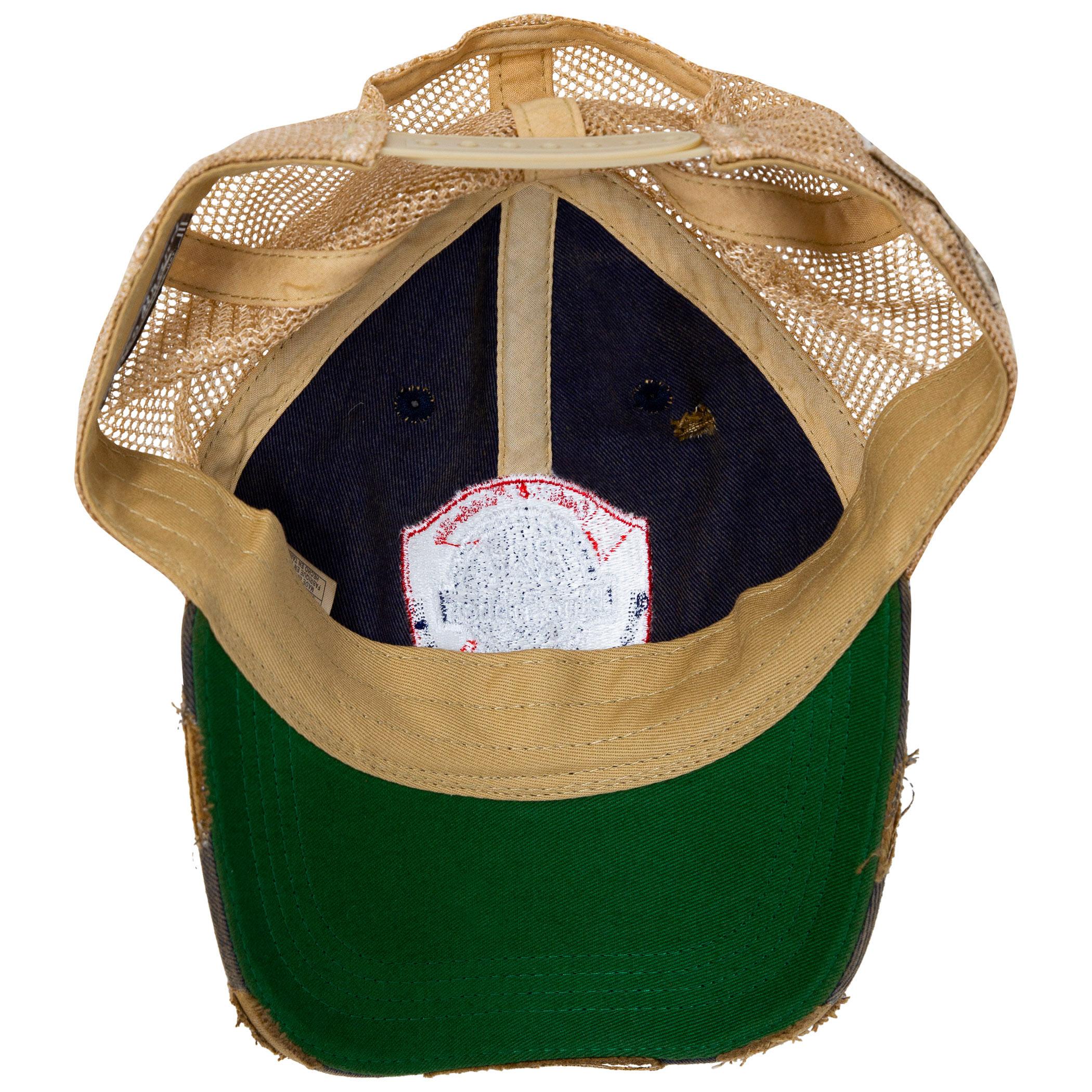 1cbd0b95a2930 Pabst Blue Ribbon Distressed Retro Brand PBR Brown Mesh Trucker Hat