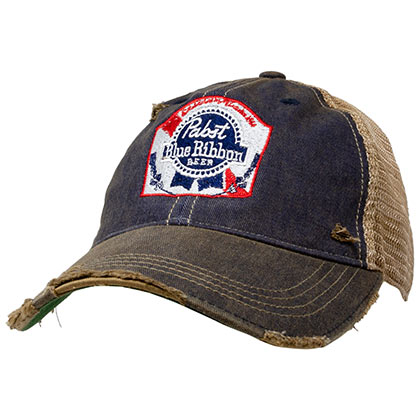Pabst Blue Ribbon Distressed Retro Brand PBR Brown Mesh Trucker Hat