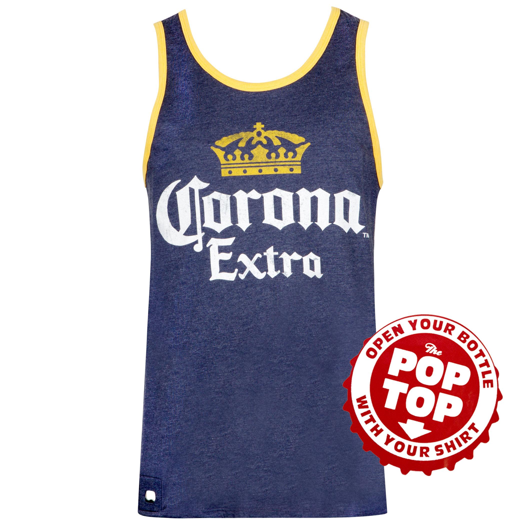 Corona Extra Dark Blue Pop Top Bottle Opener Tank Top