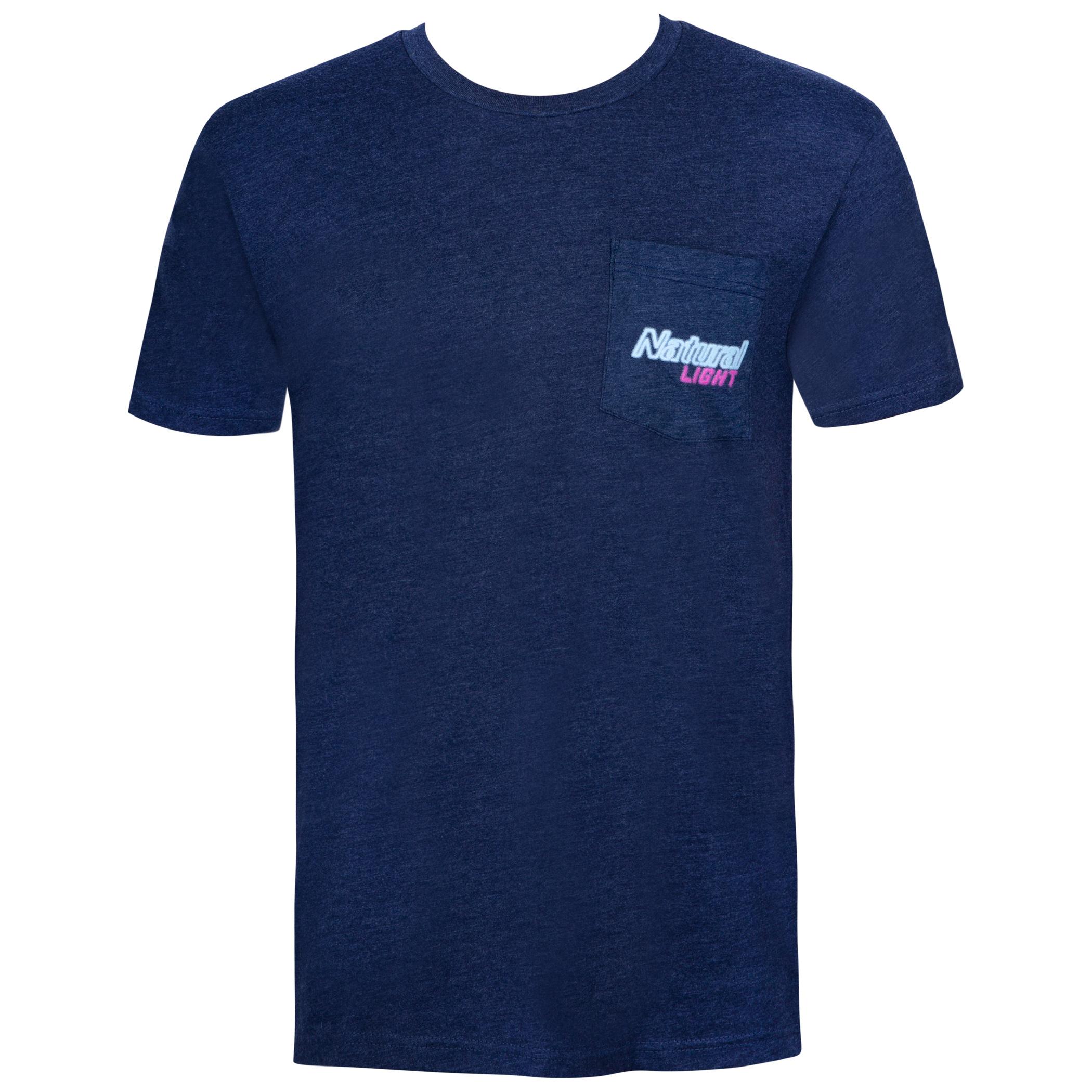 Natural Light Men's Navy Blue Neon Sign Naturdays T-Shirt