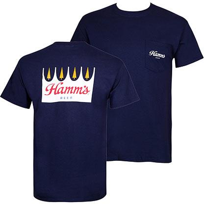 Hamm's Beer Logo Men's Front And Back Print Pocket Tee Shirt