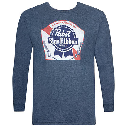 Pabst Blue Ribbon Men's Navy Blue Long Sleeve T-Shirt