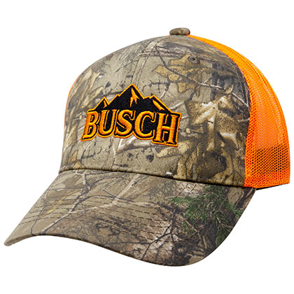 Busch Logo Men's White And Grey Mesh Trucker Hat
