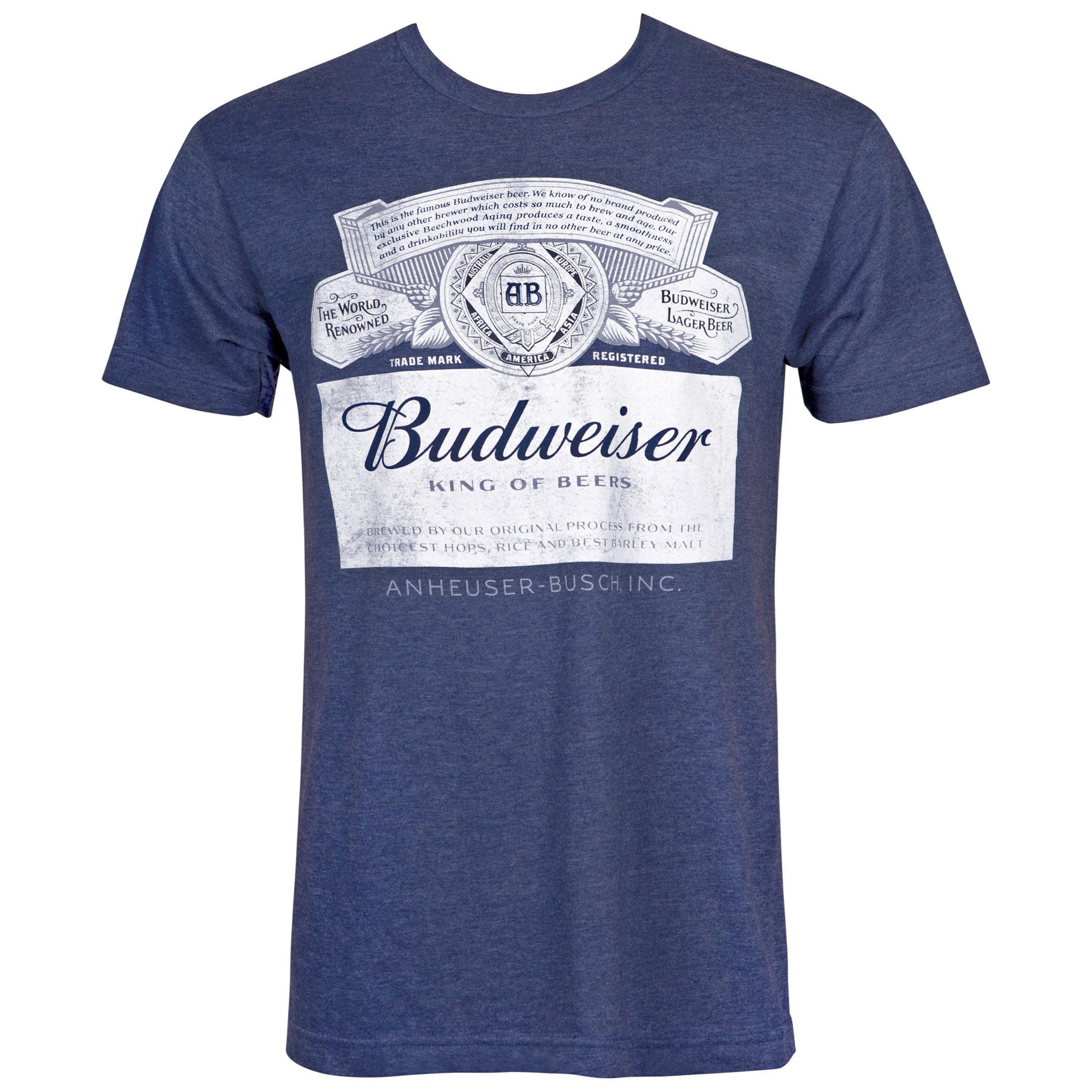 Budweiser Label Midnight Navy Blue Tee Shirt