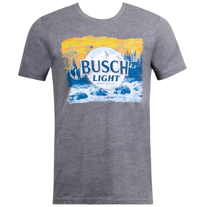 Busch Light Hikers Sunset Logo Grey Tshirt