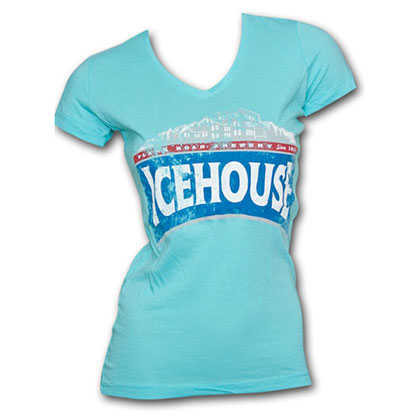 Icehouse Faded Logo Bright Blue Juniors Graphic Tee Shirt