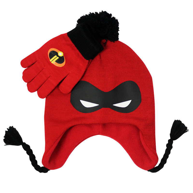 Incredibles Red Peruvian Hat And Glove Winter Set