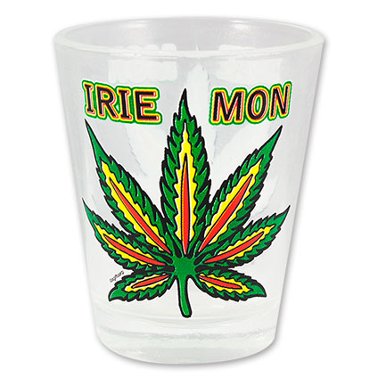 Irie Mon Pot Leaf Print Novelty Shotglass
