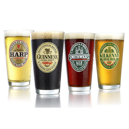 Irish Beer Cerveza Pint Glass Set of 4