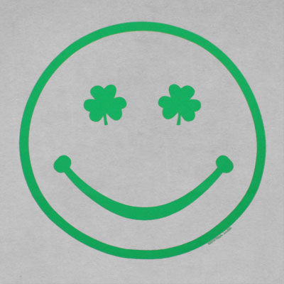 Irish Smiley Face St. Patrick's Day Light Grey Graphic Tee Shirt