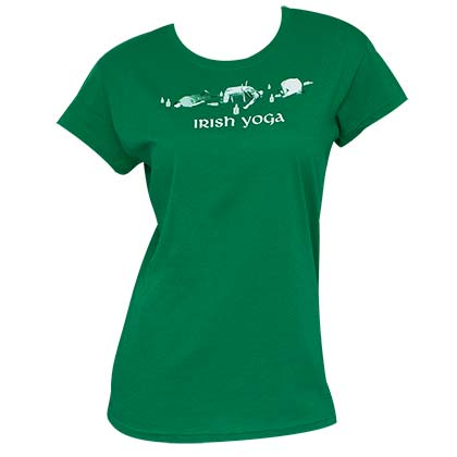 Irish Yoga St. Patrick's Humor Green Juniors Graphic TShirt