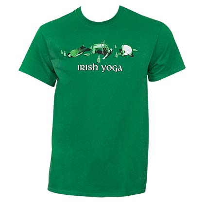 Irish Yoga St. Patrick's Day Humor Green Graphic T Shirt