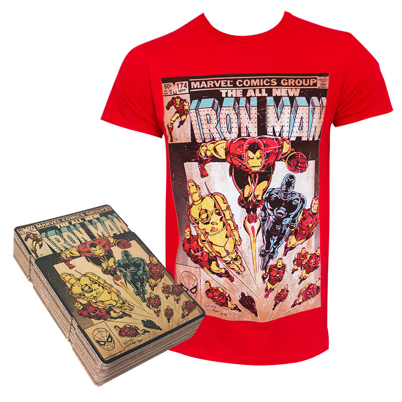 Iron Man Men's Red Corrugated Boxed T-Shirt