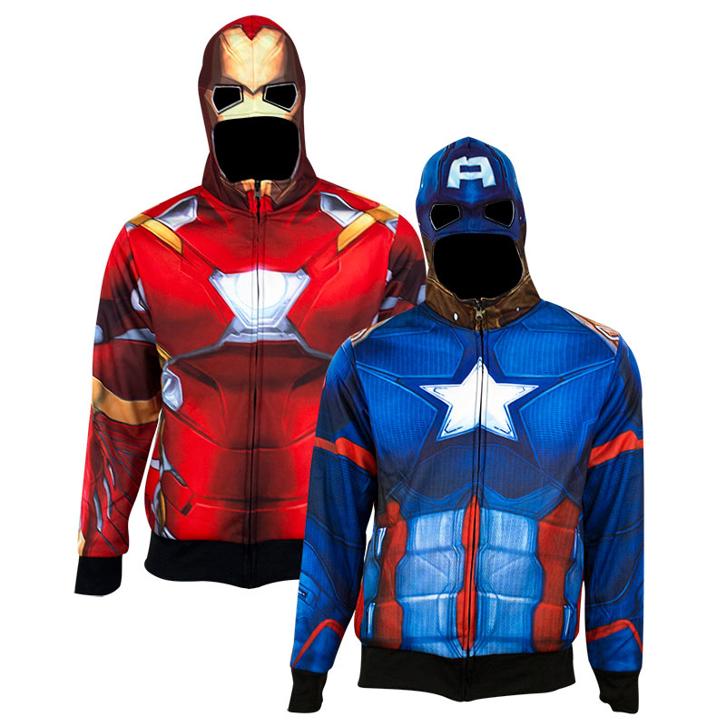 Captain America Iron Man Men's Reversible Costume Hoodie