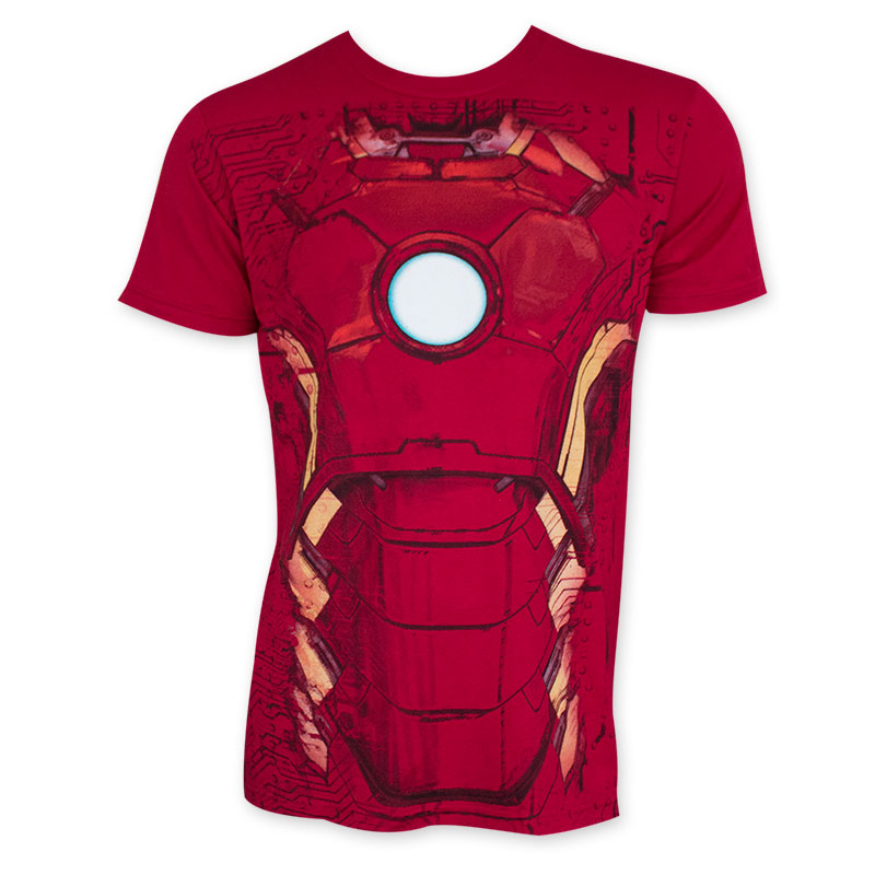 Iron man men 39 s red costume t shirt for Iron man shirt for men