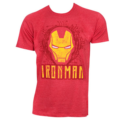 Iron Man Helmet Logo Red Heather Tshirt