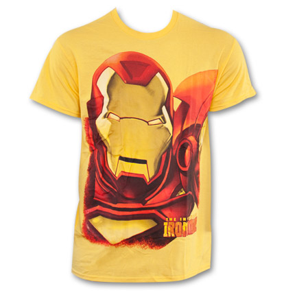Iron Man Huge Iron Face T-Shirt - Yellow