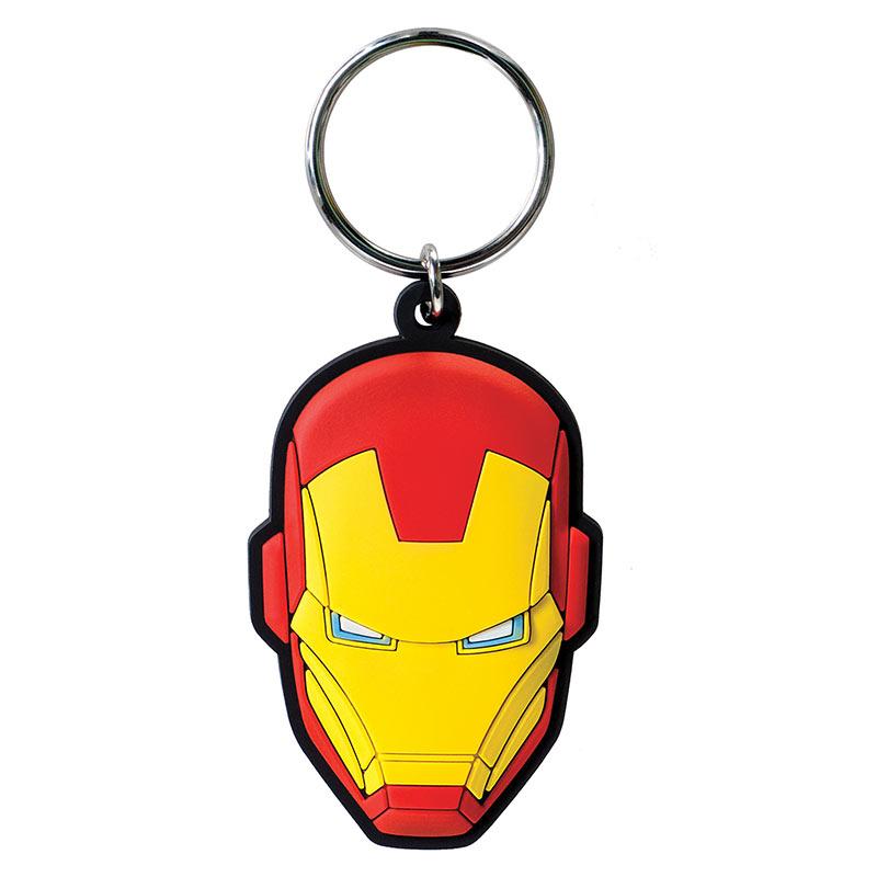 Iron Man Face Rubber Keychain