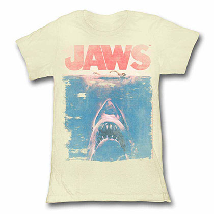Jaws Fade Off White Juniors TShirt