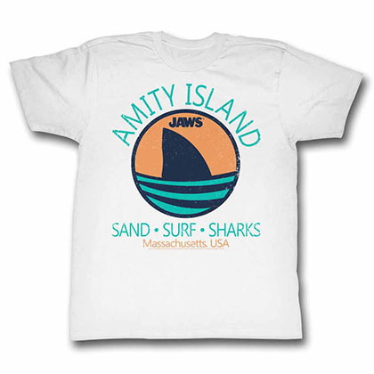 Jaws Shark Fin White TShirt