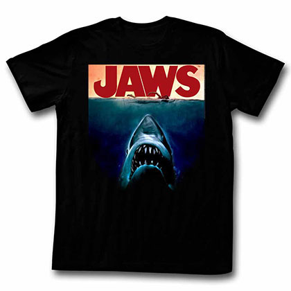 Jaws Poster Again Black TShirt