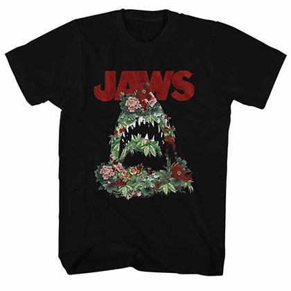 Jaws Floral Shark Black TShirt