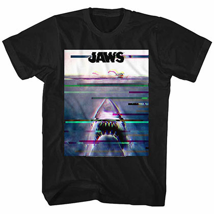 Jaws Glitchy Black TShirt