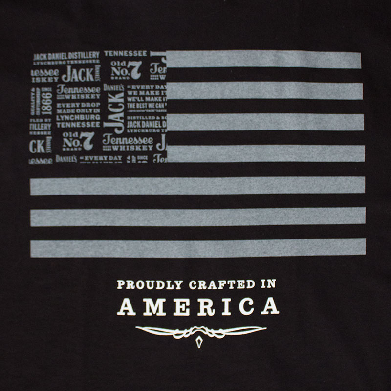 Jack Daniels Men's Black Flag Stripes Tee Shirt