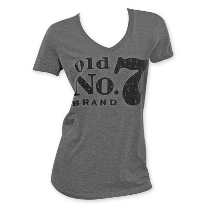 Jack Daniels Women's Grey V-Neck T-Shirt