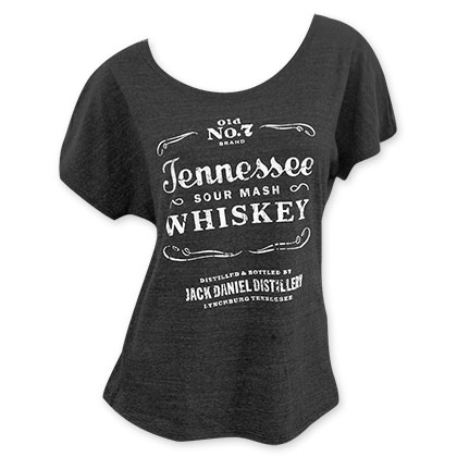 Jack Daniels Sourmash Whiskey Women's Loose Fit Grey Tee Shirt