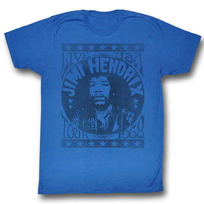 Jimi Hendrix 1968 Mens Royal T-Shirt