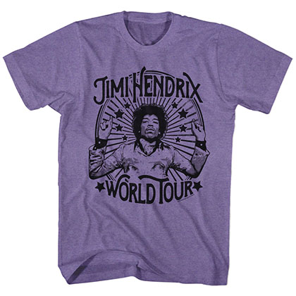 Jimi Hendrix Around The World  Mens Retro Purple T-Shirt