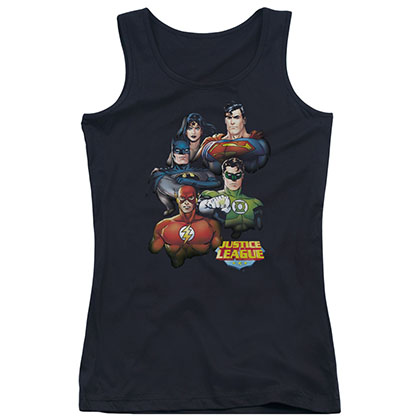 Justice League Group Portrait Black Juniors Tank Top