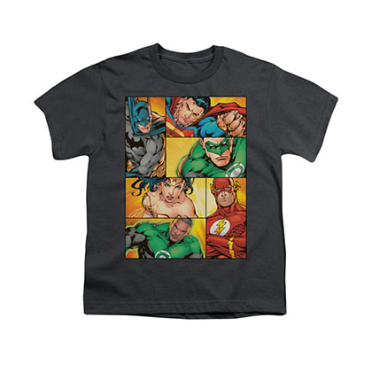 Justice League Hero Boxes Gray Youth Unisex T-Shirt
