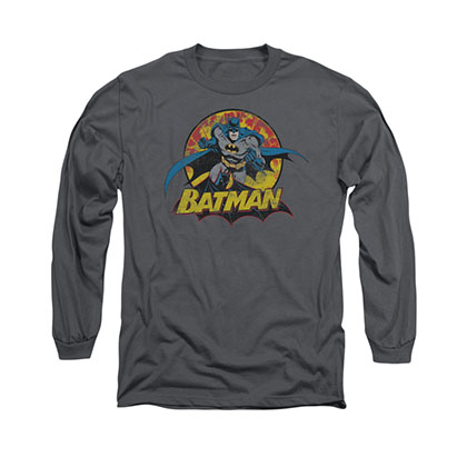Batman Rough Distres Gray Long Sleeve T-Shirt