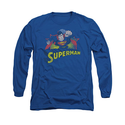 Superman Rough Distress Blue Long Sleeve T-Shirt