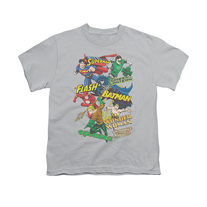 Justice League Collage Gray Youth Unisex T-Shirt