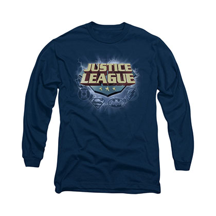 Justice League Storm Logo Blue Long Sleeve T-Shirt