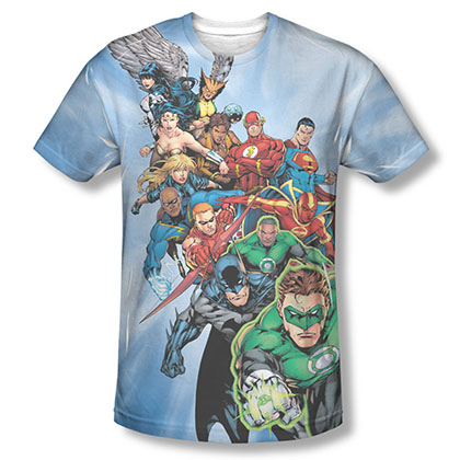 Justice League Heroes Unite Sublimation Blue Tee Shirt
