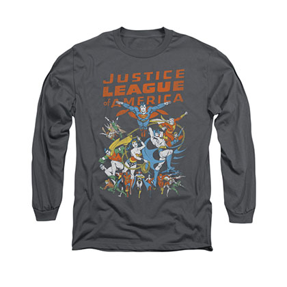 Justice League Big Group Gray Long Sleeve T-Shirt