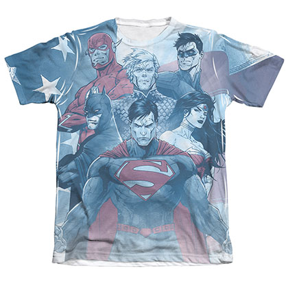 Justice League Men's Blue Sublimation United Tee Shirt