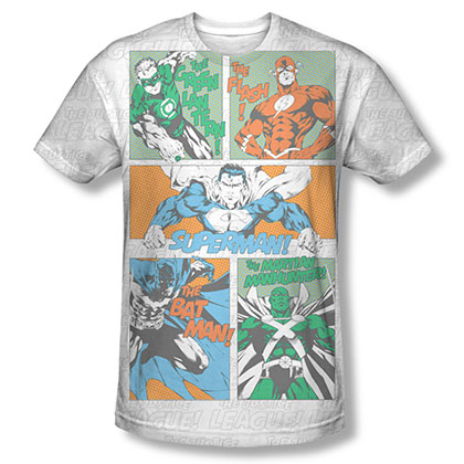 Justice League Panels Sublimation White T-Shirt