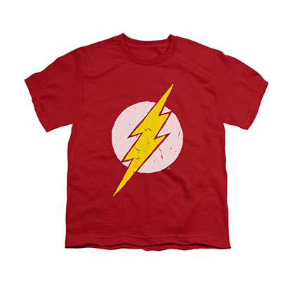 The Flash Distressed Logo Red Youth Unisex T-Shirt