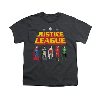 Justice League Standing Below Gray Youth Unisex T-Shirt
