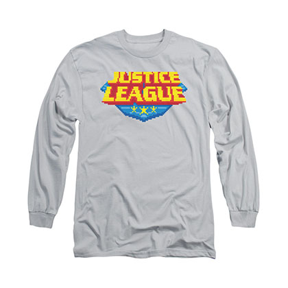 Justice League 8-Bit Logo Gray Long Sleeve T-Shirt